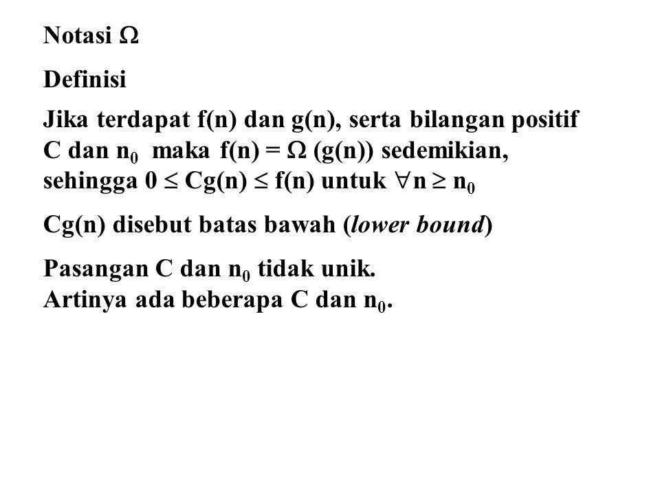 Notasi  Definisi. Jika terdapat f(n) dan g(n), serta bilangan positif. C dan n0 maka f(n) =  (g(n)) sedemikian,