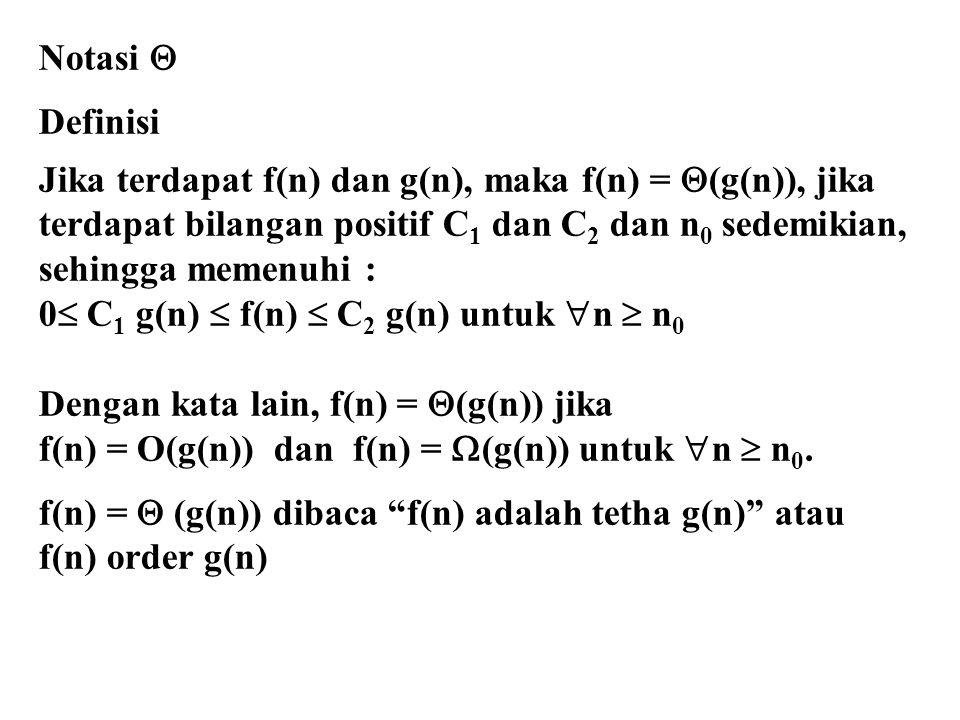 Notasi  Definisi. Jika terdapat f(n) dan g(n), maka f(n) = (g(n)), jika.