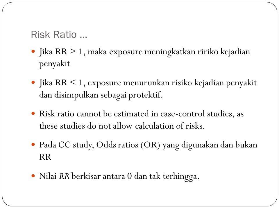 Risk Ratio ... Jika RR > 1, maka exposure meningkatkan ririko kejadian penyakit.