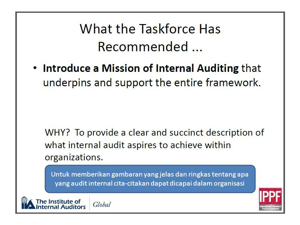 Untuk memberikan gambaran yang jelas dan ringkas tentang apa yang audit internal cita-citakan dapat dicapai dalam organisasi