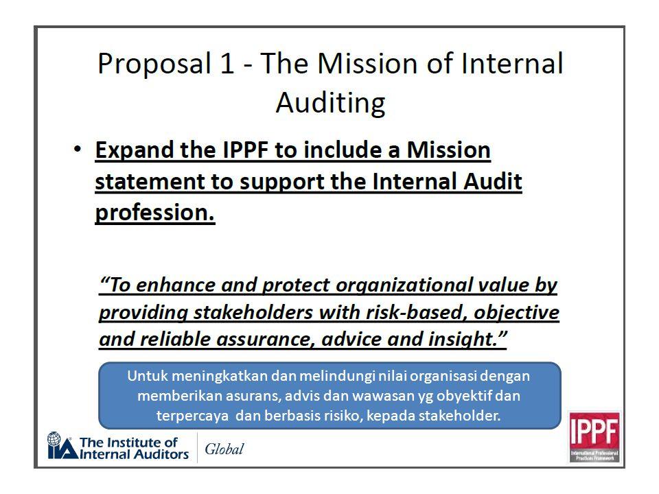 Untuk meningkatkan dan melindungi nilai organisasi dengan memberikan asurans, advis dan wawasan yg obyektif dan terpercaya dan berbasis risiko, kepada stakeholder.