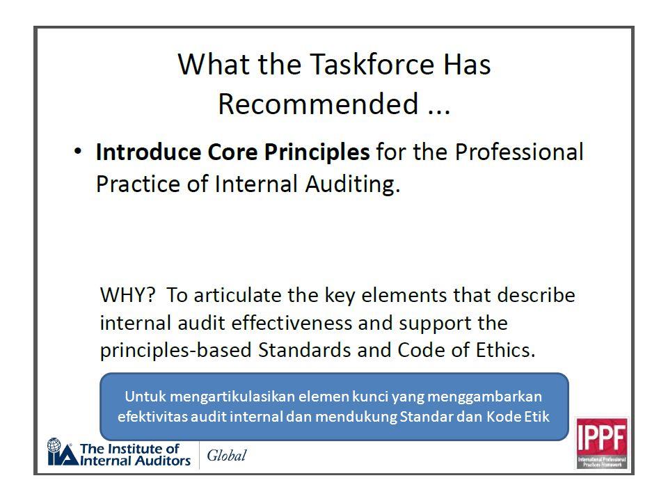 Untuk mengartikulasikan elemen kunci yang menggambarkan efektivitas audit internal dan mendukung Standar dan Kode Etik