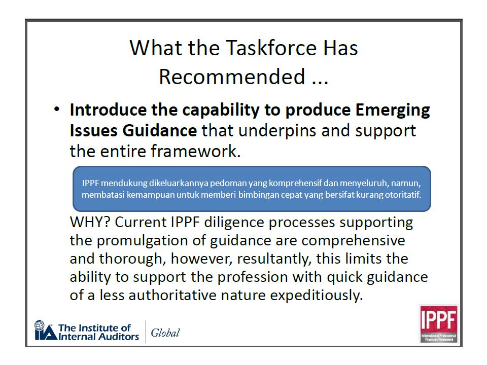 IPPF mendukung dikeluarkannya pedoman yang komprehensif dan menyeluruh, namun, membatasi kemampuan untuk memberi bimbingan cepat yang bersifat kurang otoritatif.