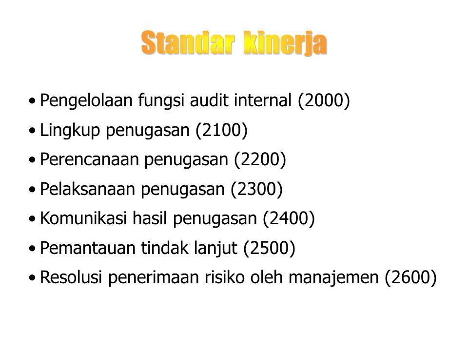 Standar kinerja Pengelolaan fungsi audit internal (2000)