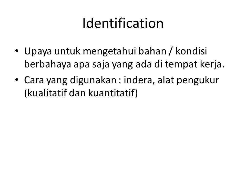 Identification Upaya untuk mengetahui bahan / kondisi berbahaya apa saja yang ada di tempat kerja.
