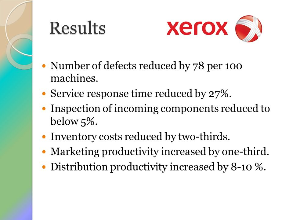 Results Number of defects reduced by 78 per 100 machines.