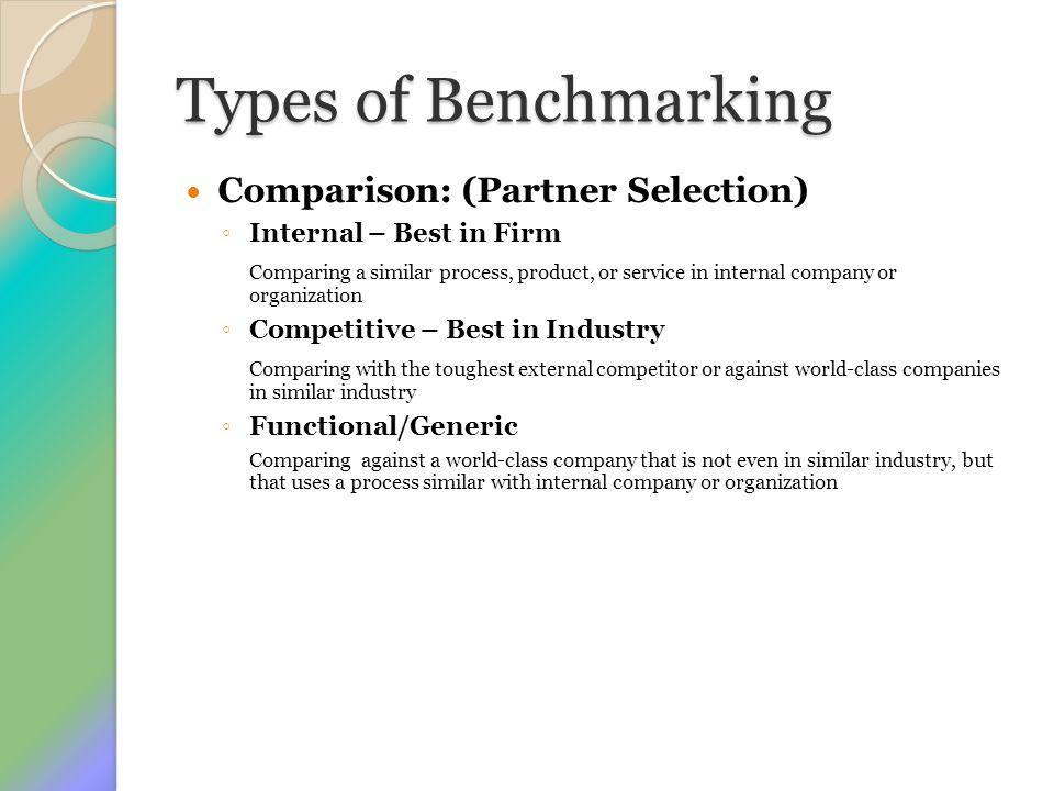 Types of Benchmarking Comparison: (Partner Selection)