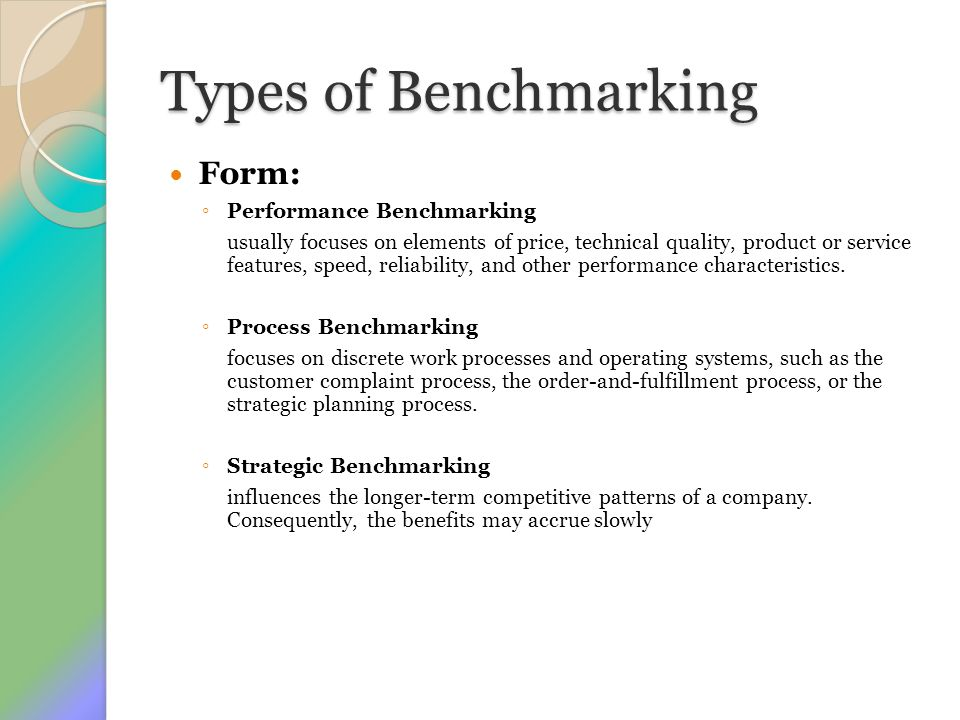 Types of Benchmarking Form: Performance Benchmarking