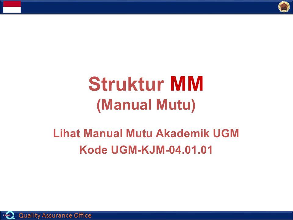 Contoh (UGM) Struktur MM (Manual Mutu) Lihat Manual Mutu Akademik UGM