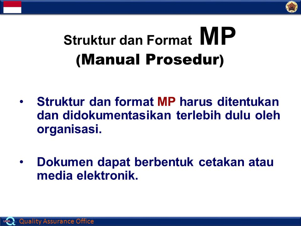 Struktur dan Format MP (Manual Prosedur)