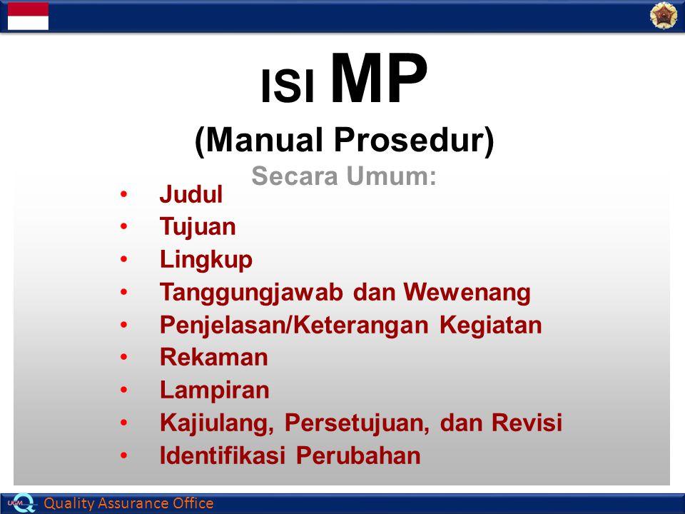 ISI MP (Manual Prosedur) Secara Umum: