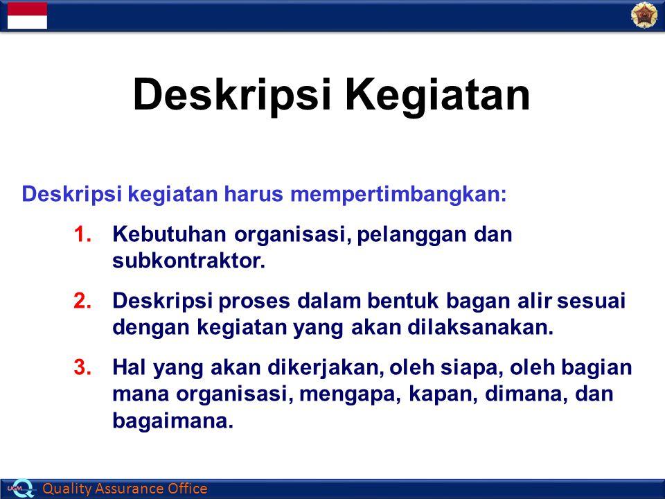 Deskripsi Kegiatan Deskripsi kegiatan harus mempertimbangkan:
