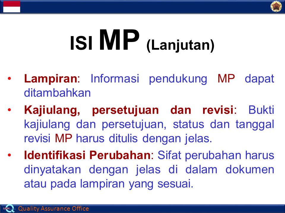 ISI MP (Lanjutan) Lampiran: Informasi pendukung MP dapat ditambahkan