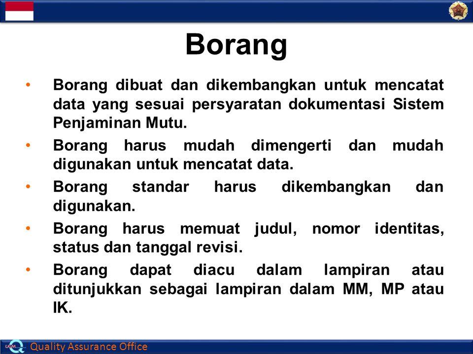 Borang Borang dibuat dan dikembangkan untuk mencatat data yang sesuai persyaratan dokumentasi Sistem Penjaminan Mutu.