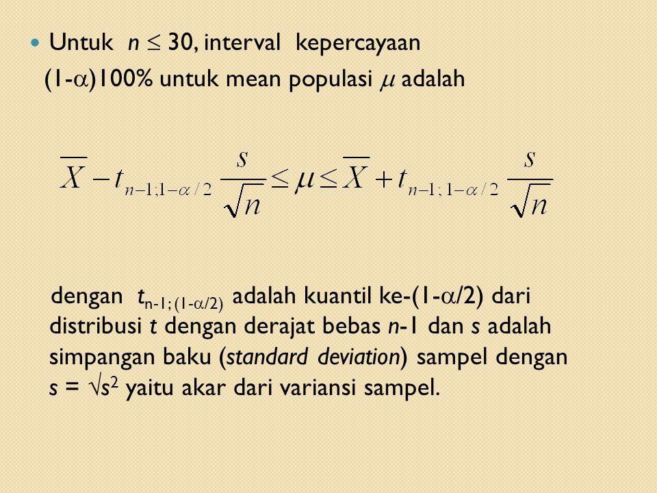 Untuk n  30, interval kepercayaan