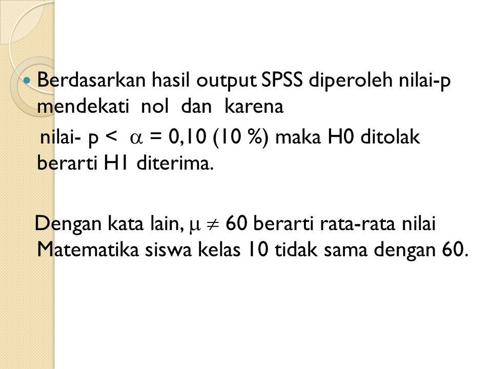 Berdasarkan hasil output SPSS diperoleh nilai-p mendekati nol dan karena