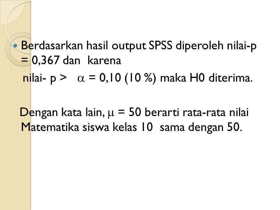 Berdasarkan hasil output SPSS diperoleh nilai-p = 0,367 dan karena