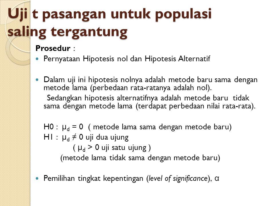 Uji t pasangan untuk populasi saling tergantung