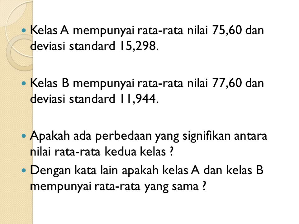 Kelas A mempunyai rata-rata nilai 75,60 dan deviasi standard 15,298.