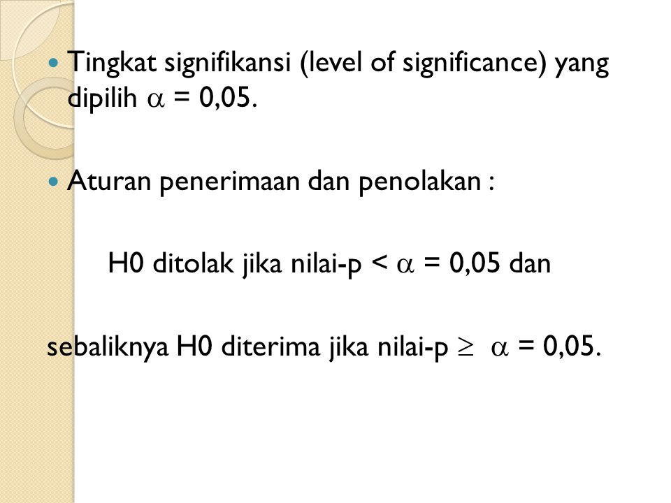 Tingkat signifikansi (level of significance) yang dipilih  = 0,05.