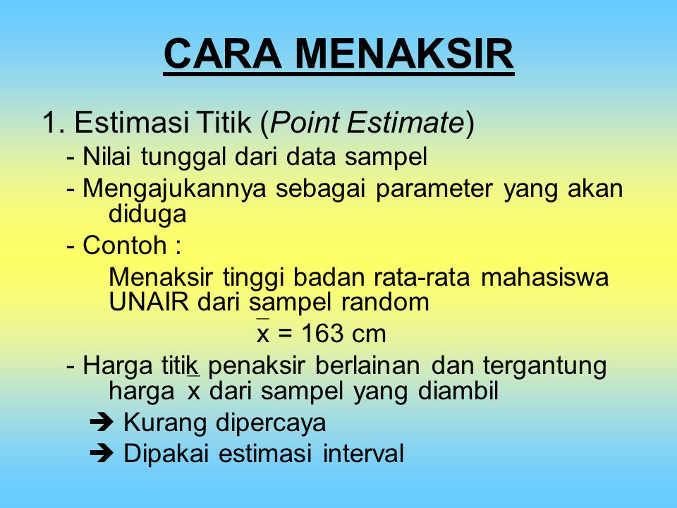 CARA MENAKSIR 1. Estimasi Titik (Point Estimate)