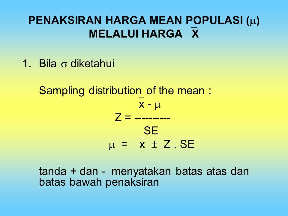 PENAKSIRAN HARGA MEAN POPULASI () MELALUI HARGA X
