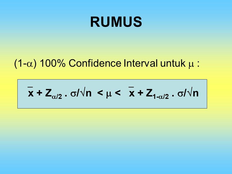 RUMUS (1-) 100% Confidence Interval untuk  :