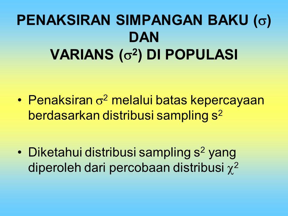 PENAKSIRAN SIMPANGAN BAKU () DAN VARIANS (2) DI POPULASI