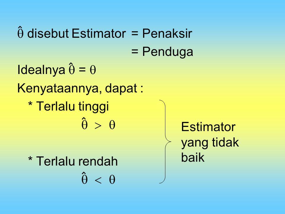  disebut Estimator = Penaksir = Penduga Idealnya  = 