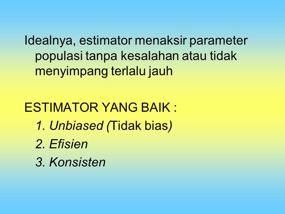 Idealnya, estimator menaksir parameter populasi tanpa kesalahan atau tidak menyimpang terlalu jauh
