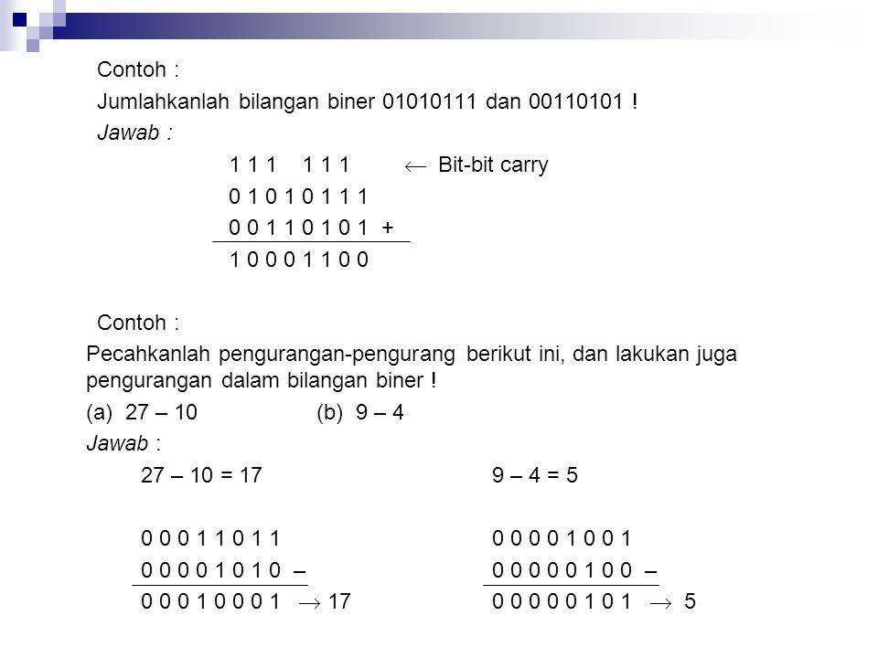 Contoh : Jumlahkanlah bilangan biner 01010111 dan 00110101 ! Jawab : 1 1 1 1 1 1  Bit-bit carry.