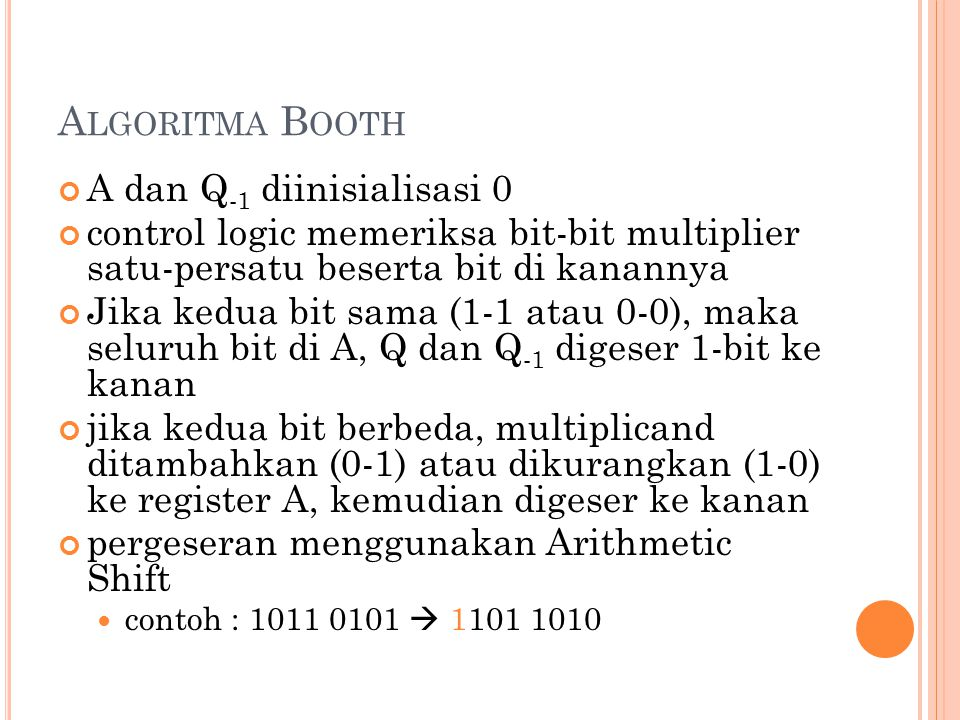 Algoritma Booth A dan Q-1 diinisialisasi 0