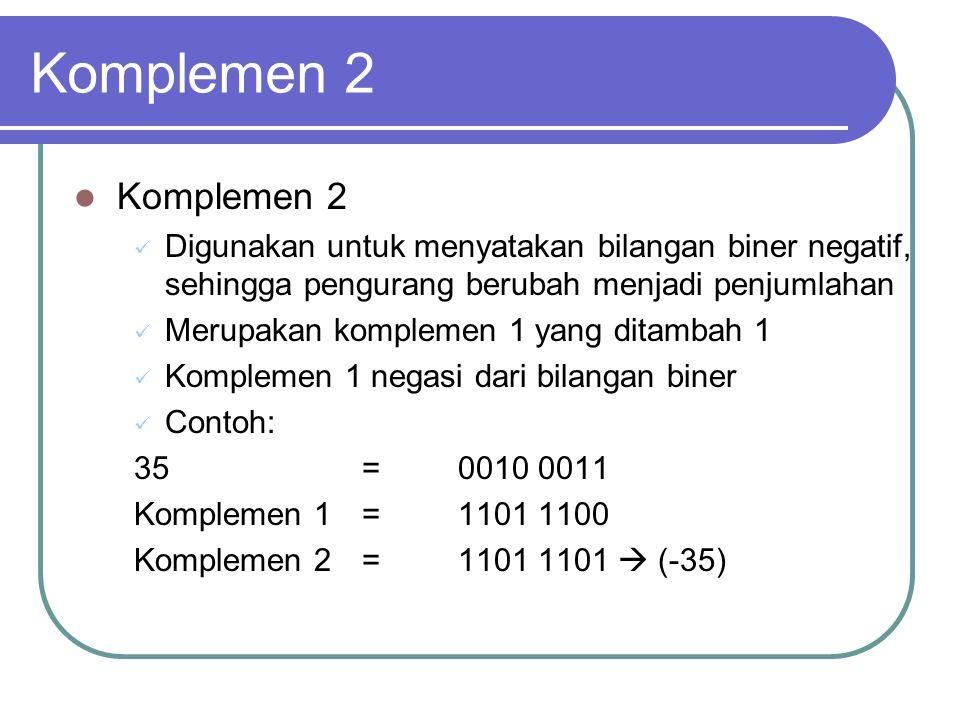Komplemen 2 Komplemen 2. Digunakan untuk menyatakan bilangan biner negatif, sehingga pengurang berubah menjadi penjumlahan.
