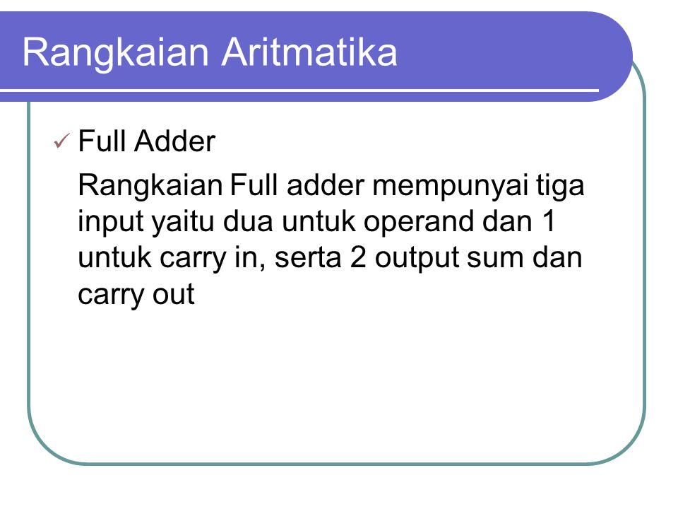 Rangkaian Aritmatika Full Adder