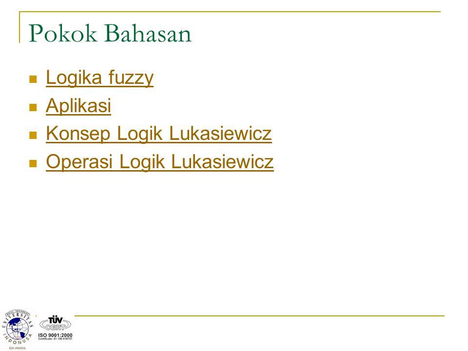 Pokok Bahasan Logika fuzzy Aplikasi Konsep Logik Lukasiewicz