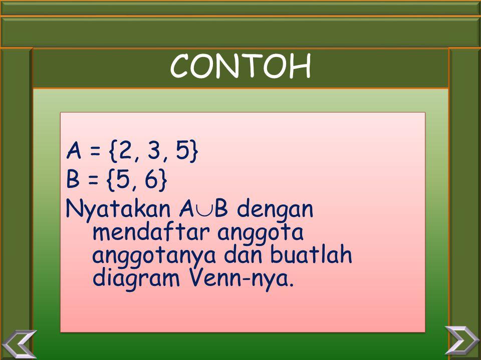 CONTOH A = {2, 3, 5} B = {5, 6} Nyatakan AB dengan mendaftar anggota anggotanya dan buatlah diagram Venn-nya.