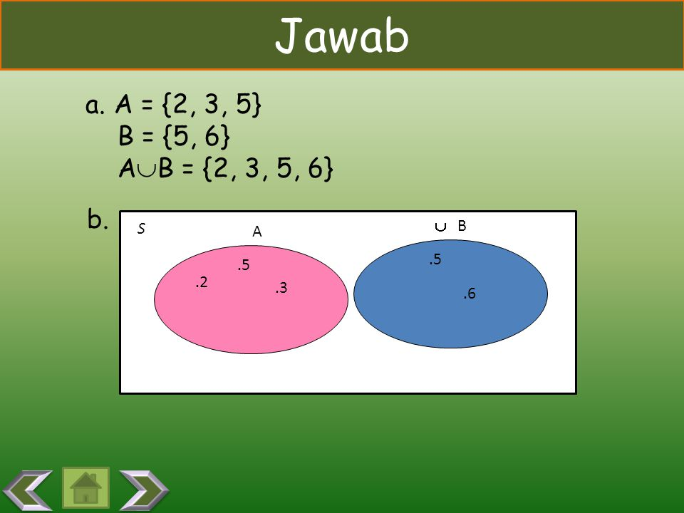 Jawab a. A = {2, 3, 5} B = {5, 6} AB = {2, 3, 5, 6} b. S  B A .5 .5