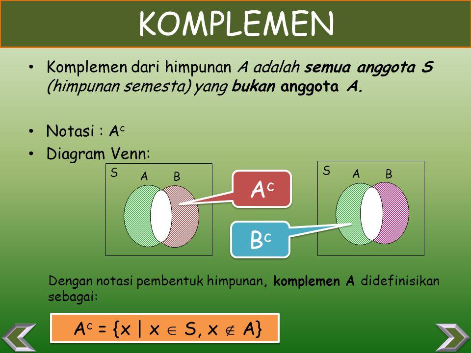 KOMPLEMEN Ac Bc Ac = {x | x  S, x  A}