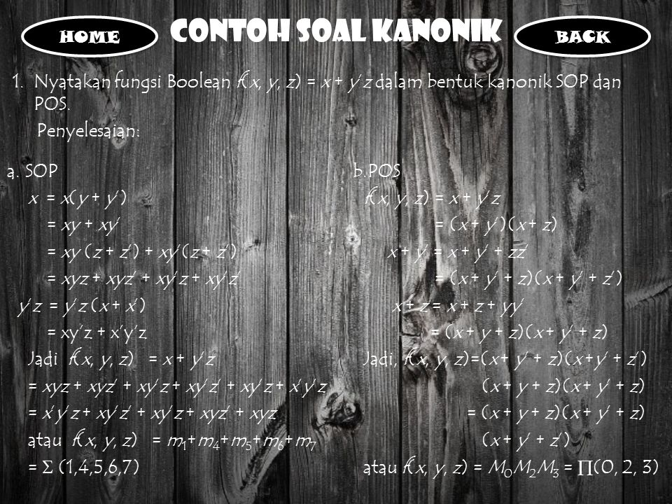 Contoh Soal Kanonik HOME. BACK. Nyatakan fungsi Boolean f(x, y, z) = x + y'z dalam bentuk kanonik SOP dan POS.