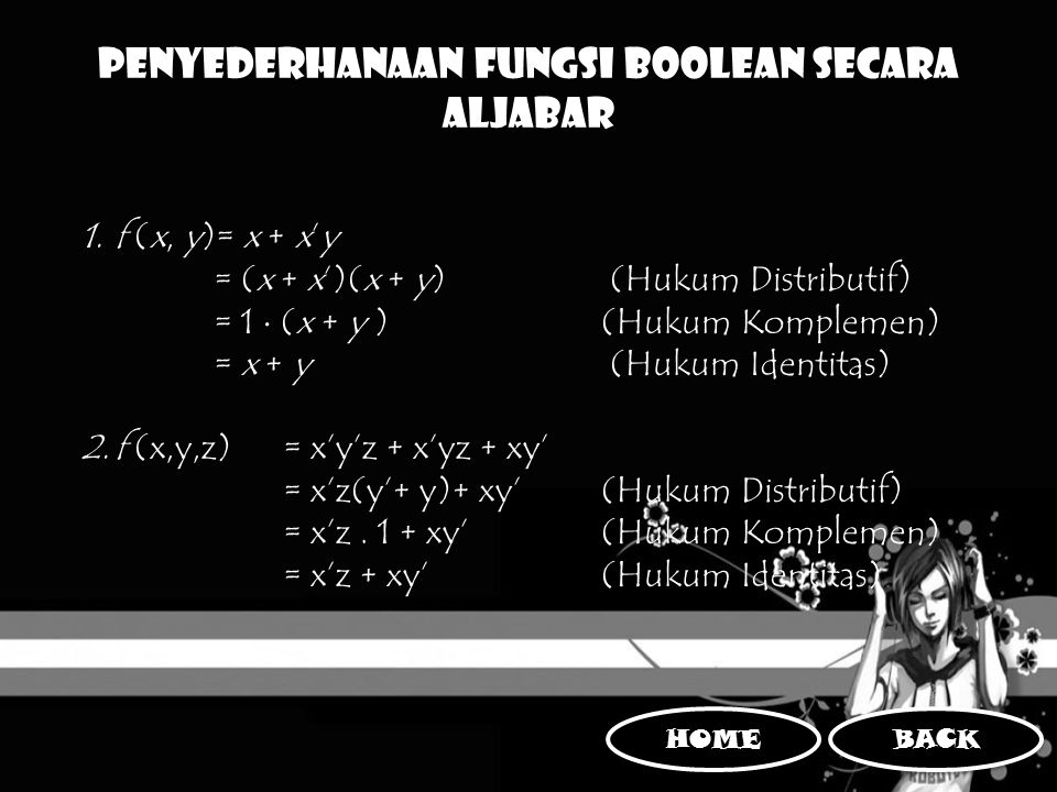 Penyederhanaan Fungsi Boolean Secara Aljabar