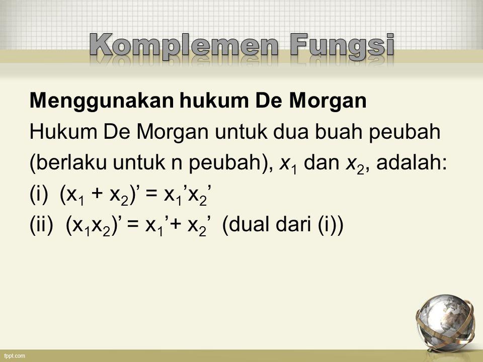 Komplemen Fungsi Menggunakan hukum De Morgan