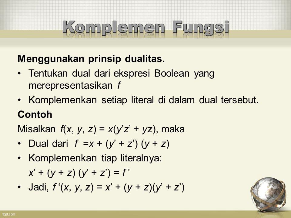 Komplemen Fungsi Menggunakan prinsip dualitas.