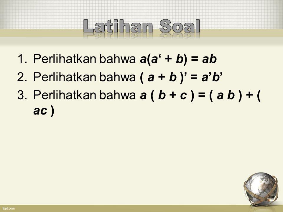Latihan Soal Perlihatkan bahwa a(a' + b) = ab