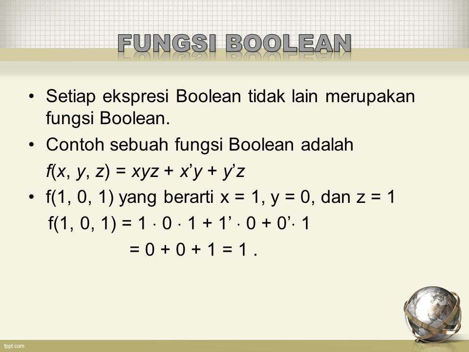 FUNGSI BOOLEAN Setiap ekspresi Boolean tidak lain merupakan fungsi Boolean. Contoh sebuah fungsi Boolean adalah.