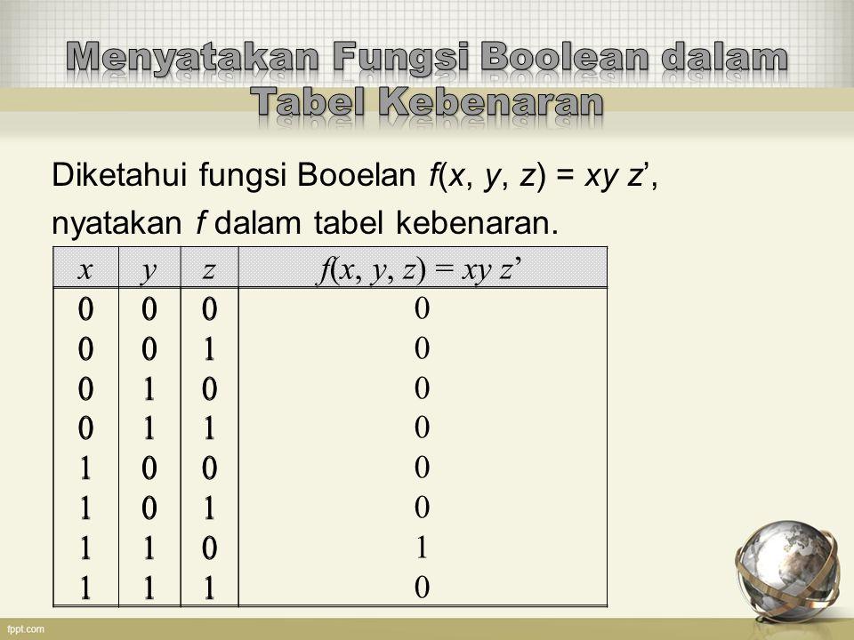 Menyatakan Fungsi Boolean dalam Tabel Kebenaran