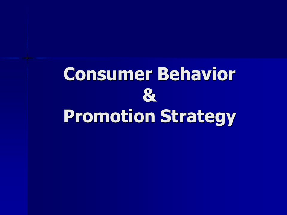 Consumer Behavior & Promotion Strategy