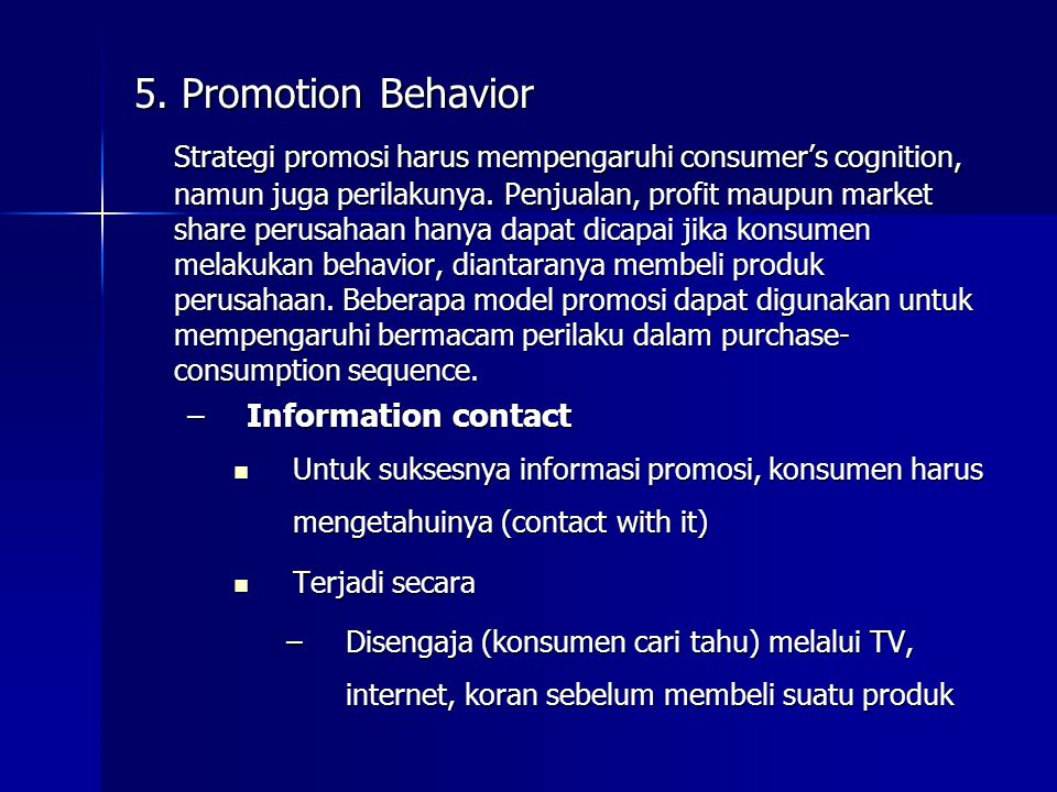 5. Promotion Behavior