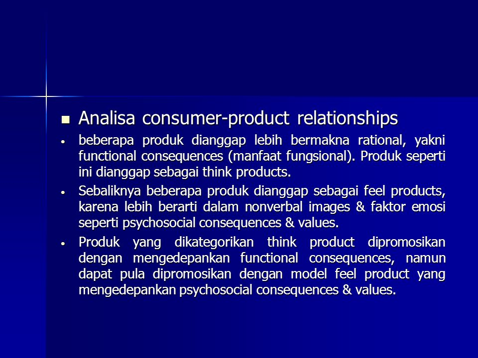 Analisa consumer-product relationships