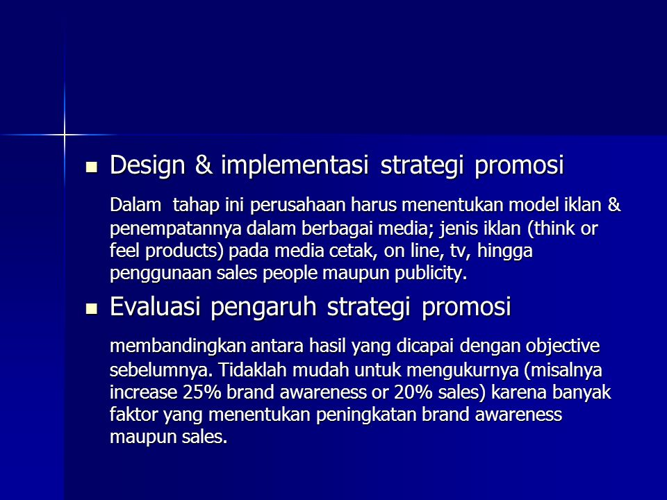 Design & implementasi strategi promosi