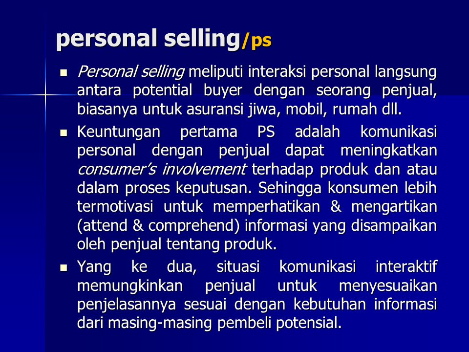 personal selling/ps